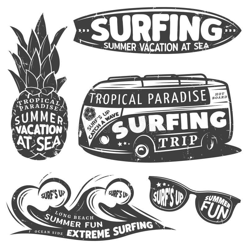 Rocznika surfingu Monochromatyczne grafika Ustawiać royalty ilustracja