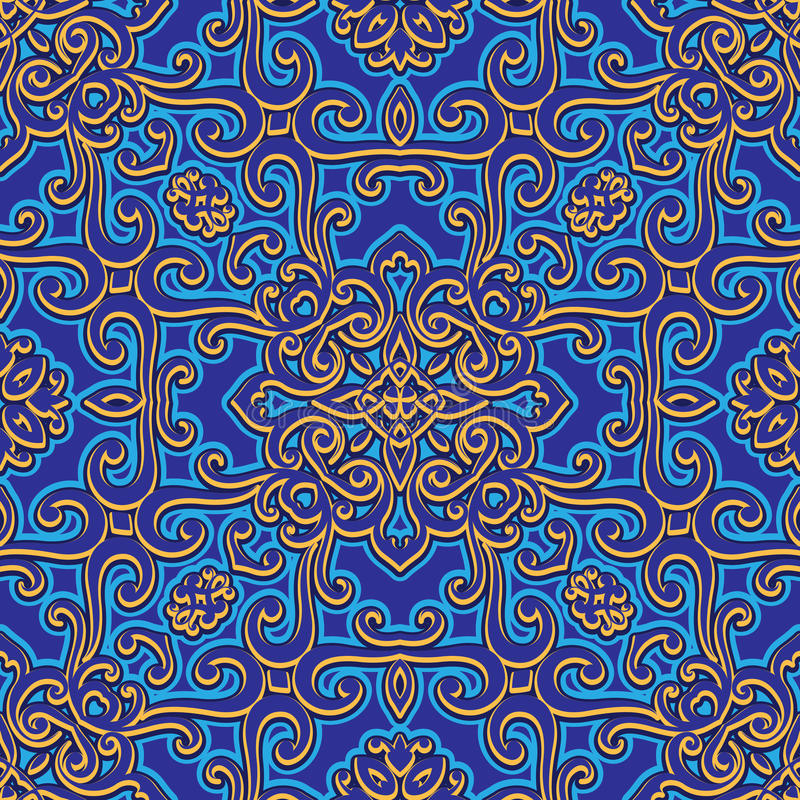 Rocznika swirly ornament, bezszwowy wzór ilustracja wektor