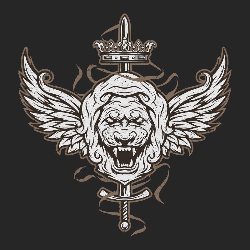Rocznika symbol lew głowa, skrzydła i ilustracji
