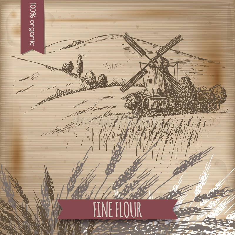Rocznika szablon z wiatraczkiem, stajnią, polem i wzgórze krajobrazem, ilustracja wektor