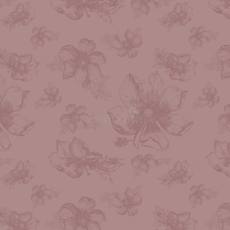 Rocznika tła kolażu papier Mauve Scrapbooking tło - Botaniczna ilustracja - neutralny - royalty ilustracja