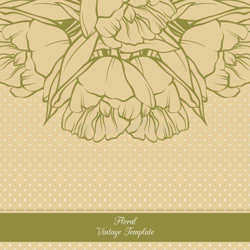 Rocznika tła ornamentacyjny ramowy kwiecisty projekt Szablonu zaproszenia karciany sztandar z wiosna kwiatami Nakreślenie tulipan royalty ilustracja
