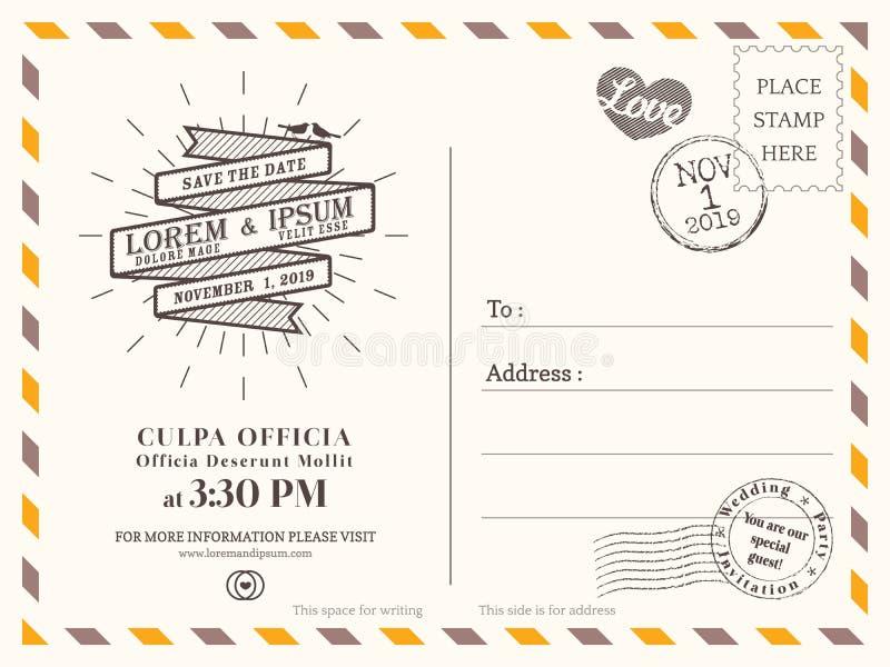 Rocznika tła pocztówkowy szablon dla ślubnego zaproszenia ilustracja wektor