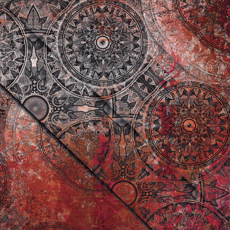 Rocznika tła stary wzorzysty czarny czerwony zmrok obraz stock