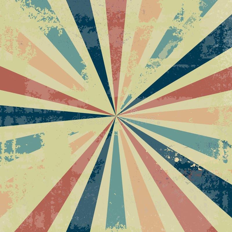 Rocznika tła sunburst projekt z starą zakłopotaną teksturą z udziałami grunge w modnej retro kolor palecie błękit menchii czerwie ilustracja wektor