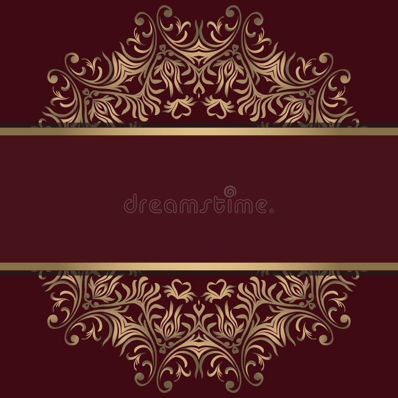 Rocznika tło, antyk, wiktoriański złocisty ornament, barok rama, piękny stary papier, karta, ozdobna okładkowa strona, etykietka; ilustracja wektor