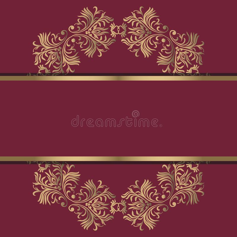 Rocznika tło, antyk, wiktoriański złocisty ornament, barok rama, piękny stary papier, karta, ozdobna okładkowa strona, etykietka; ilustracji