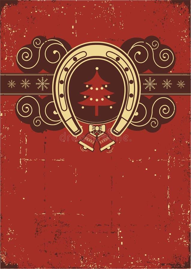 Rocznika tło czerwony Bożenarodzeniowy ilustracji