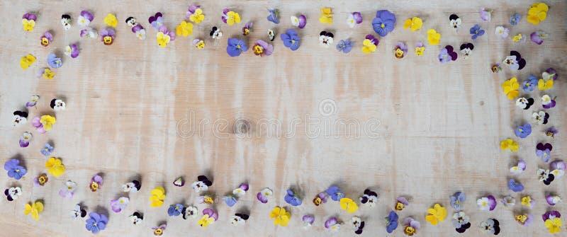 Rocznika tło - drewniana deska z kwiecistą ramą zdjęcie royalty free
