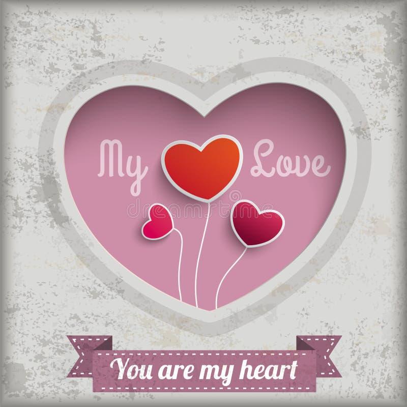 Rocznika tło Mój Kierowi miłości dziury serca ilustracji