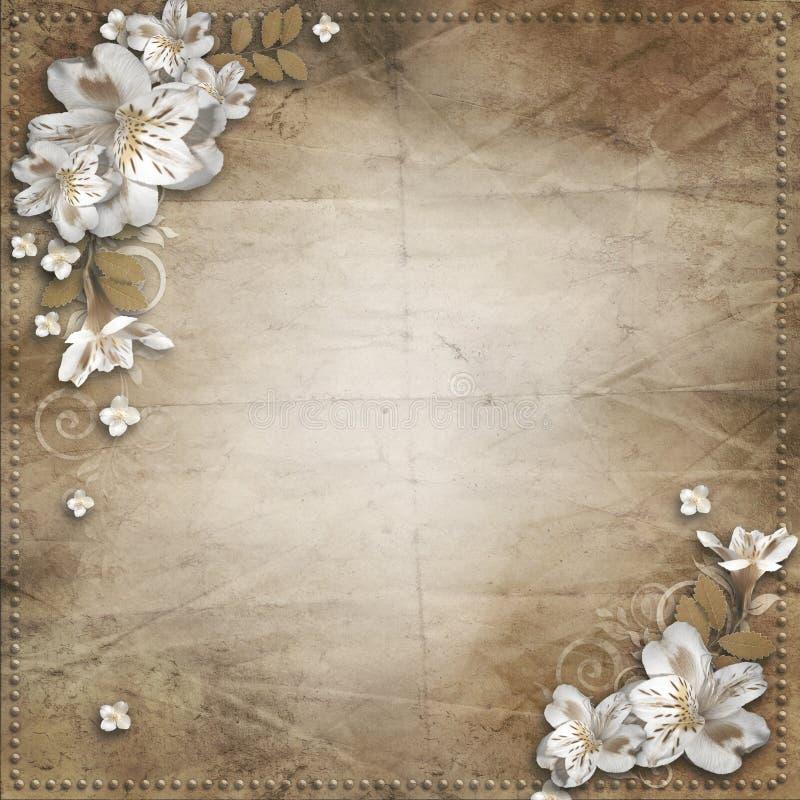 Rocznika tło z kwiatami dla gratulacj royalty ilustracja