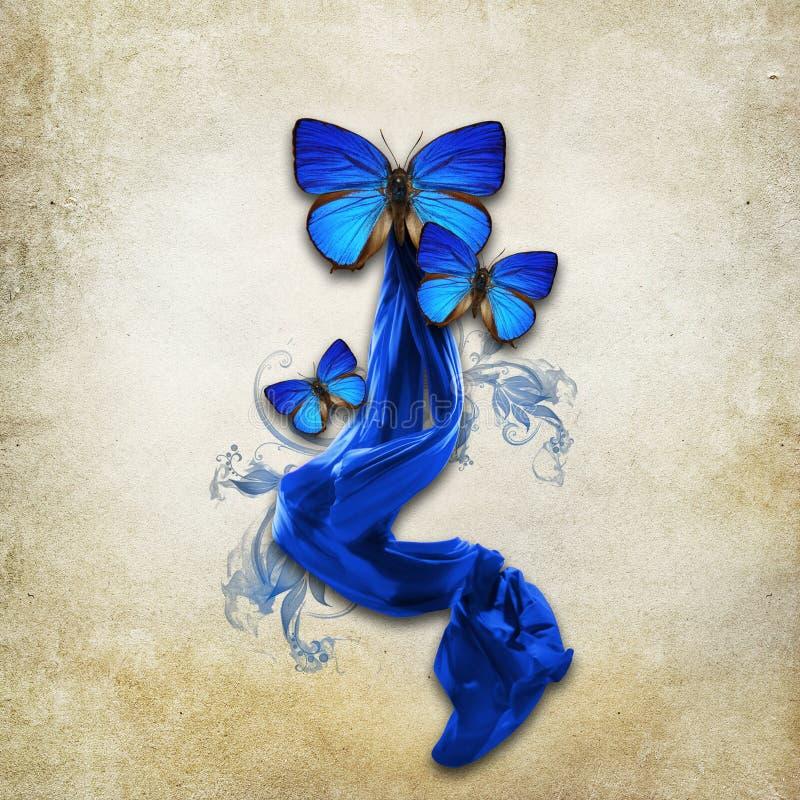 Rocznika tło z motylami obraz stock