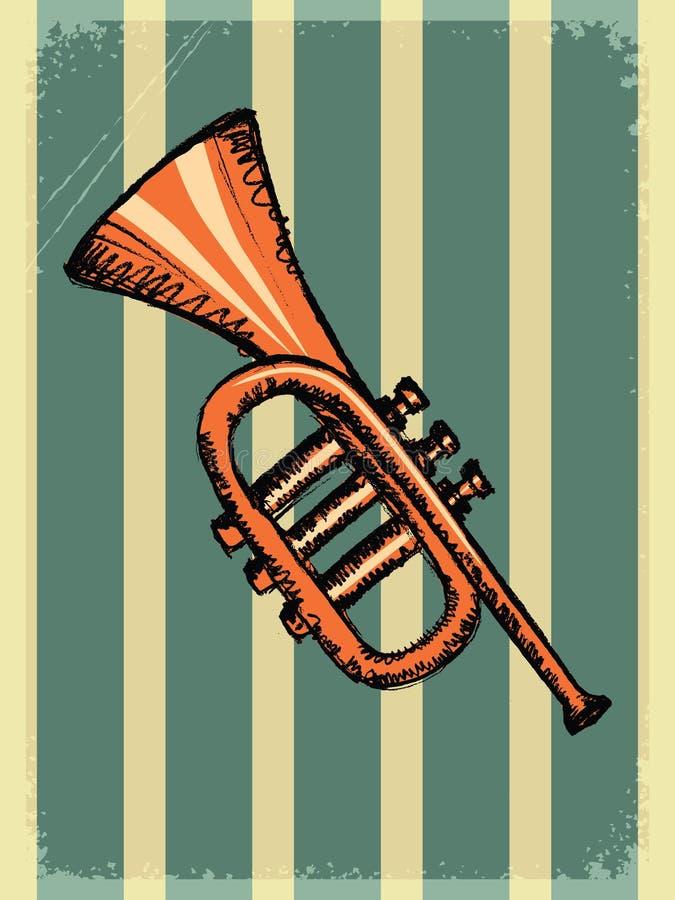 Rocznika tło z muzycznym instrumentem ilustracja wektor