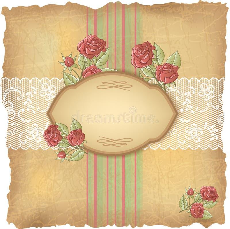 Rocznika tło z różami i koronką stary papier royalty ilustracja