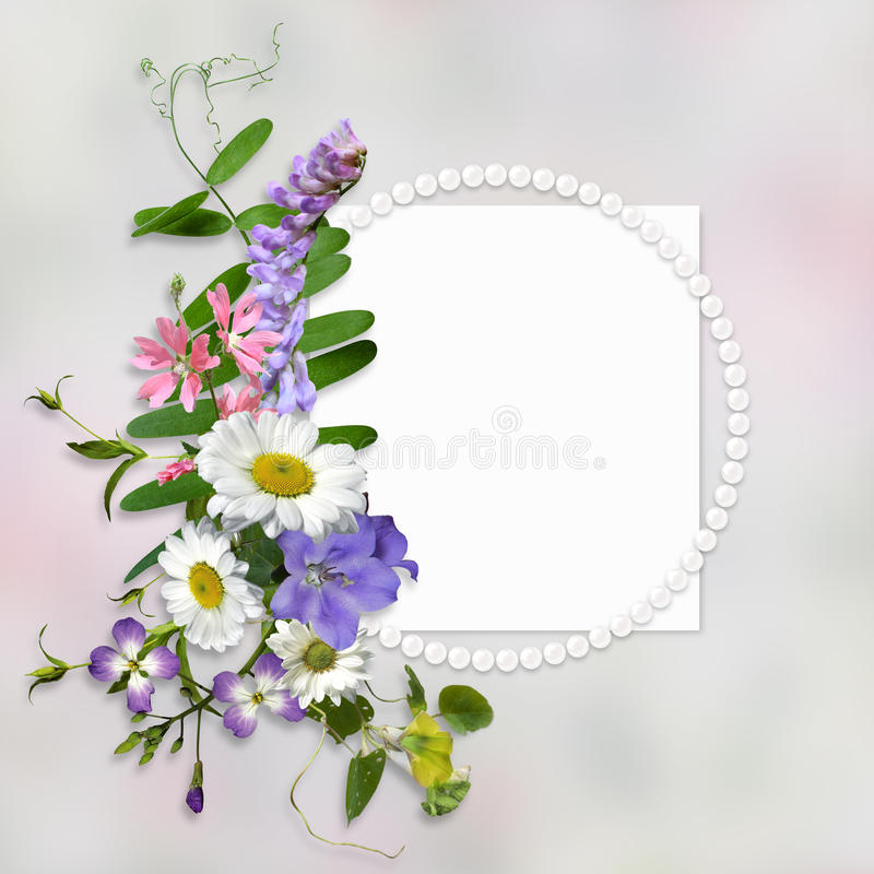 Rocznika tło z ramą dla, bukiet lato łąkowi kwiaty i ilustracja wektor
