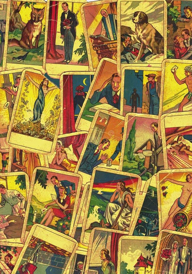 Rocznika tarot karty Fortunetelling z jeden popularne occult Tarot karty ilustracji