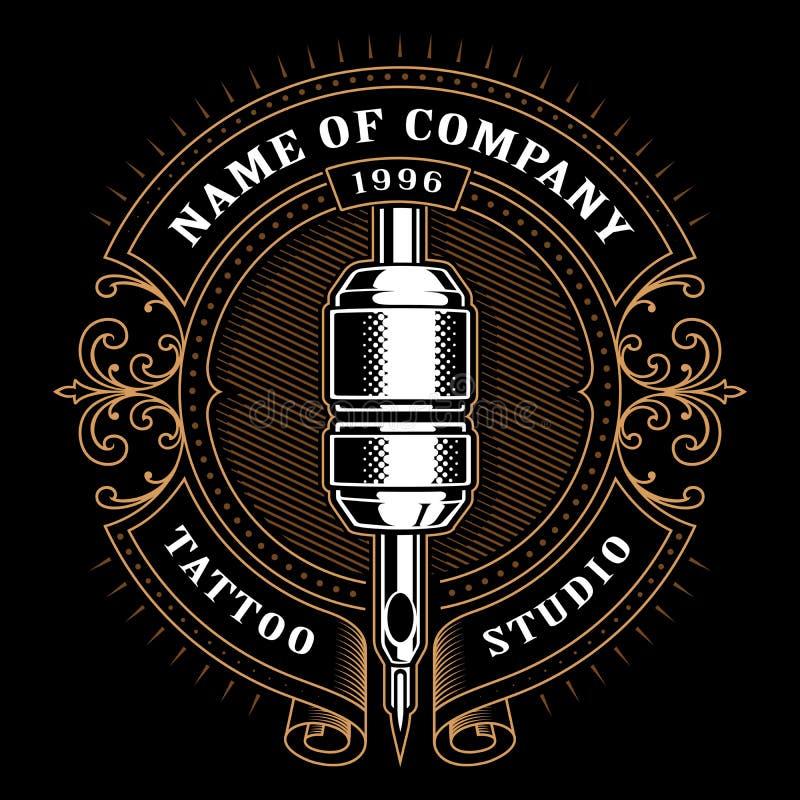 Rocznika tatuażu studio emblem_1 dla ciemnego tła ilustracja wektor