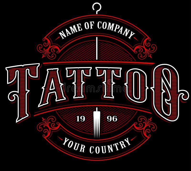Rocznika tatuażu studio emblem_4 dla ciemnego tła ilustracja wektor
