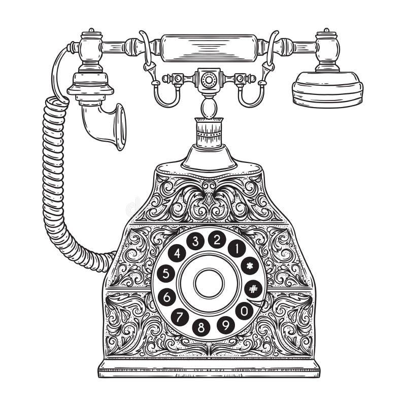 Rocznika telefon z kwiecistym ornamentem ilustracji