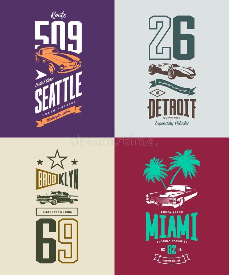 Rocznika terenówka, klasyk i sportowy samochód, odizolowywaliśmy wektorowego koszulka loga set royalty ilustracja
