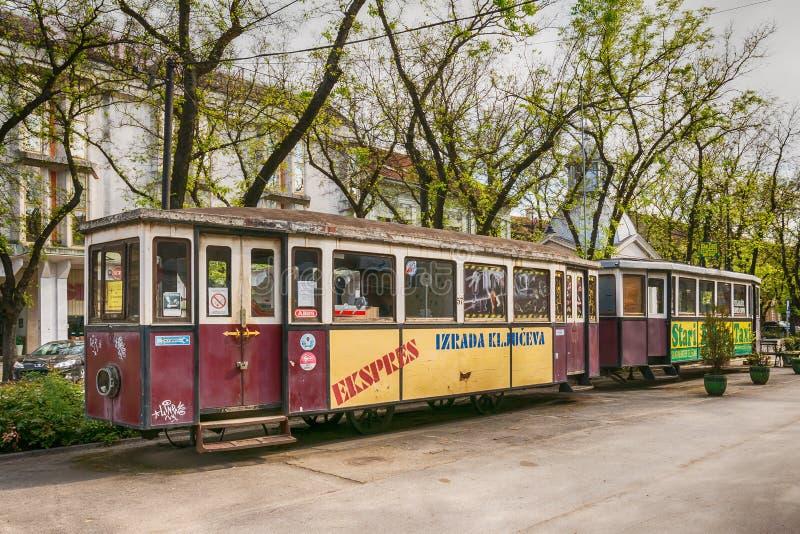 Rocznika tramwaj w Subotica miasteczku, Serbia zdjęcie stock
