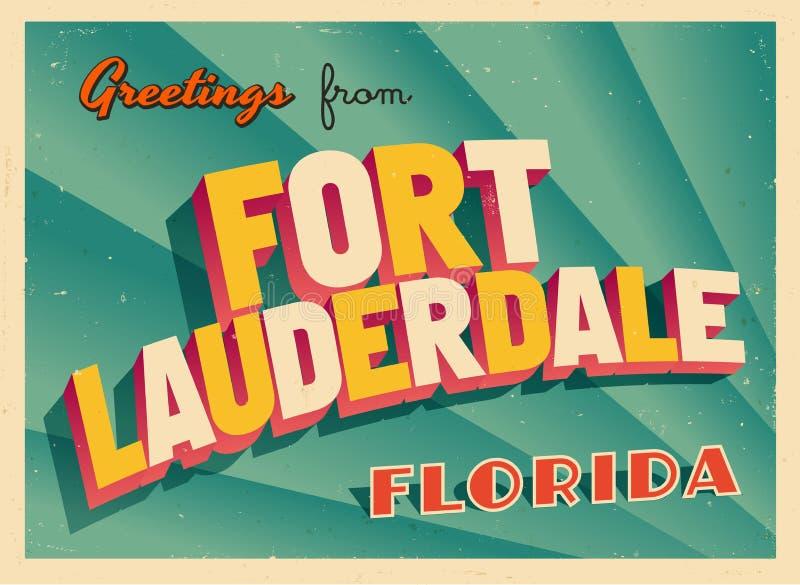 Rocznika Turystyczny kartka z pozdrowieniami Od fort lauderdale, Floryda ilustracja wektor