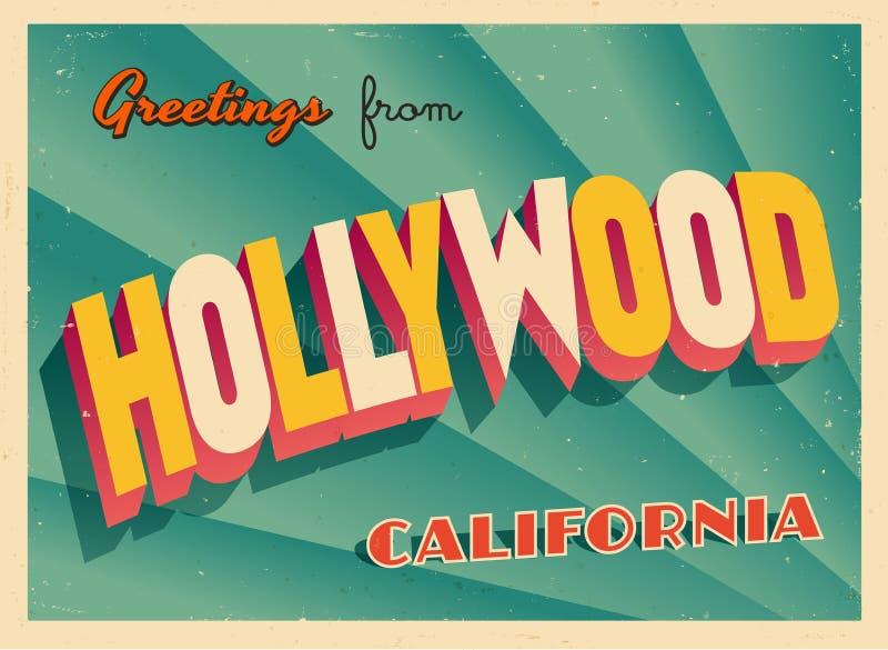 Rocznika Turystyczny kartka z pozdrowieniami Od Hollywood, Kalifornia ilustracji