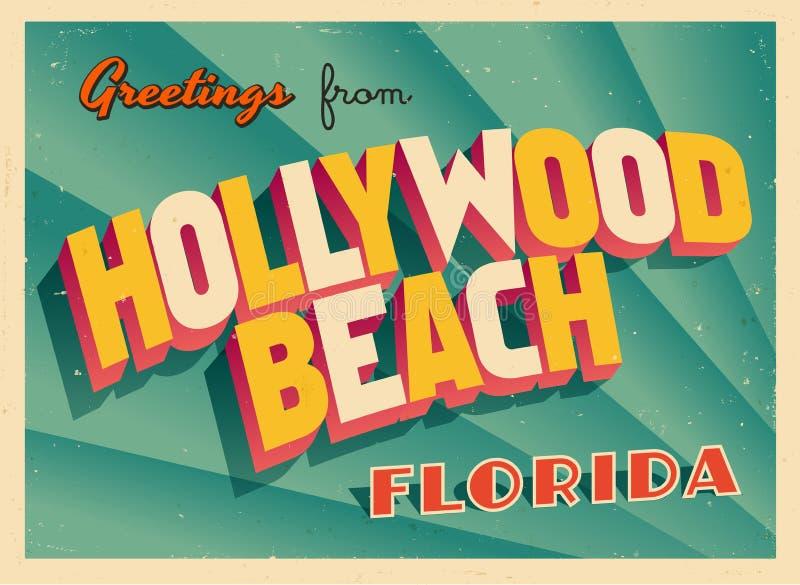 Rocznika Turystyczny kartka z pozdrowieniami Od Hollywood plaży, Floryda ilustracji