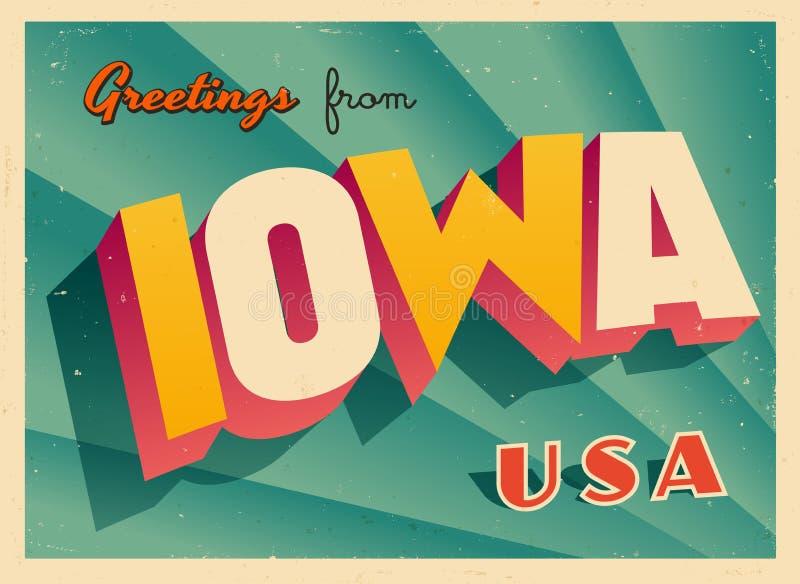 Rocznika Turystyczny kartka z pozdrowieniami od Iowa ilustracji
