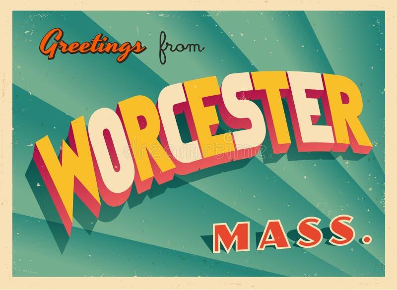 Rocznika Turystyczny kartka z pozdrowieniami Od Worcester, Massachusetts ilustracja wektor