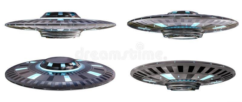 Rocznika UFO kolekcja odizolowywająca na białym tła 3D renderingu ilustracji