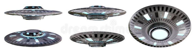 Rocznika UFO kolekcja odizolowywająca na białym tła 3D renderingu ilustracja wektor