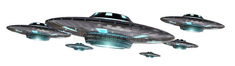 Rocznika UFO odizolowywający na białym tła 3D renderingu royalty ilustracja