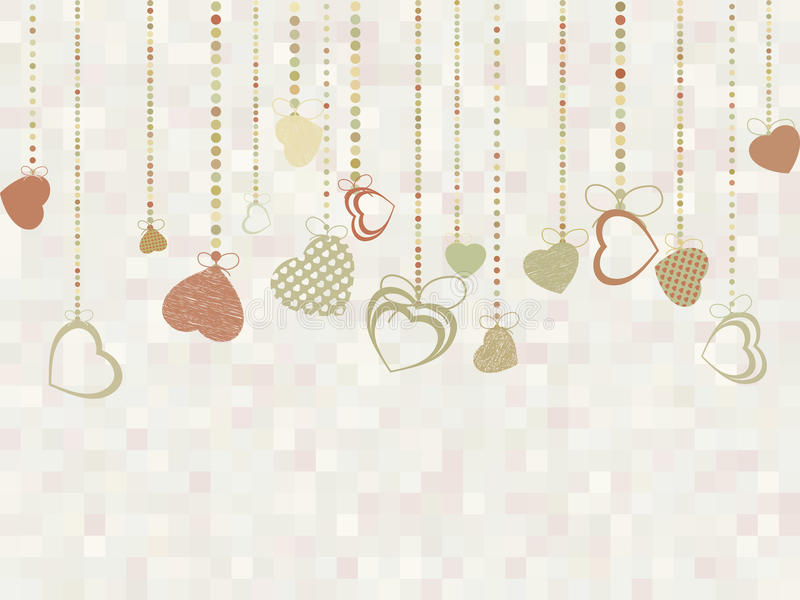 Rocznika valentine karta z ślicznymi sercami EPS 8 ilustracji