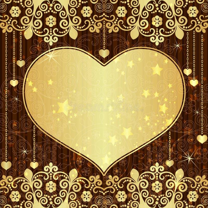 Rocznika valentine złocista rama ilustracji