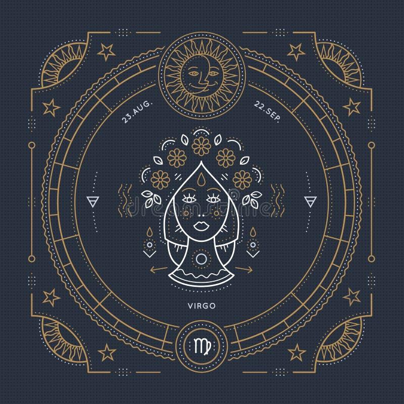 Rocznika Virgo zodiaka znaka cienka kreskowa etykietka Retro wektorowy astrologiczny symbol ilustracja wektor
