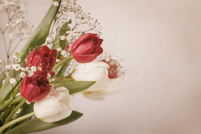 Rocznika wciąż życie z wiosna bukietem tulipany Pojęcie matka dzień, kobieta dzień Dekoruje do domu z kwiatami obrazy royalty free