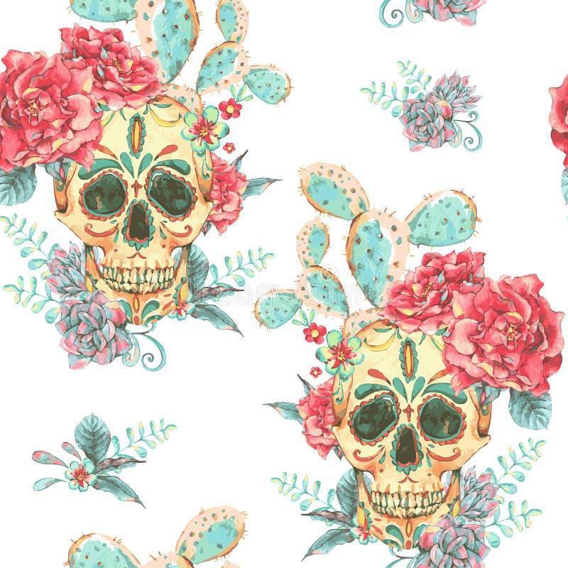 Rocznika wektorowy bezszwowy wzór z czaszką i różami ilustracja wektor