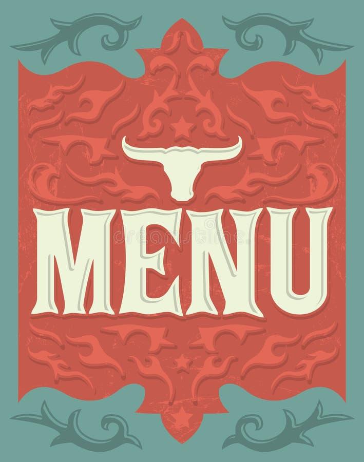 Rocznika Wektorowy grill restauracyjny menu projekt - stek - royalty ilustracja