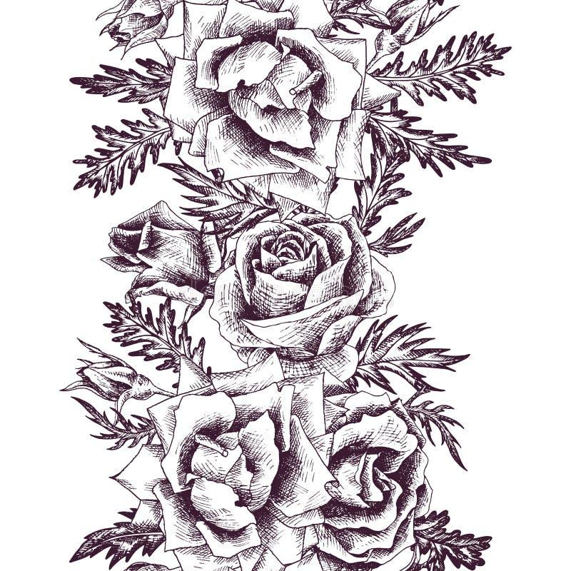 Rocznika Wektorowy Kwiecisty Bezszwowy wzór ilustracji