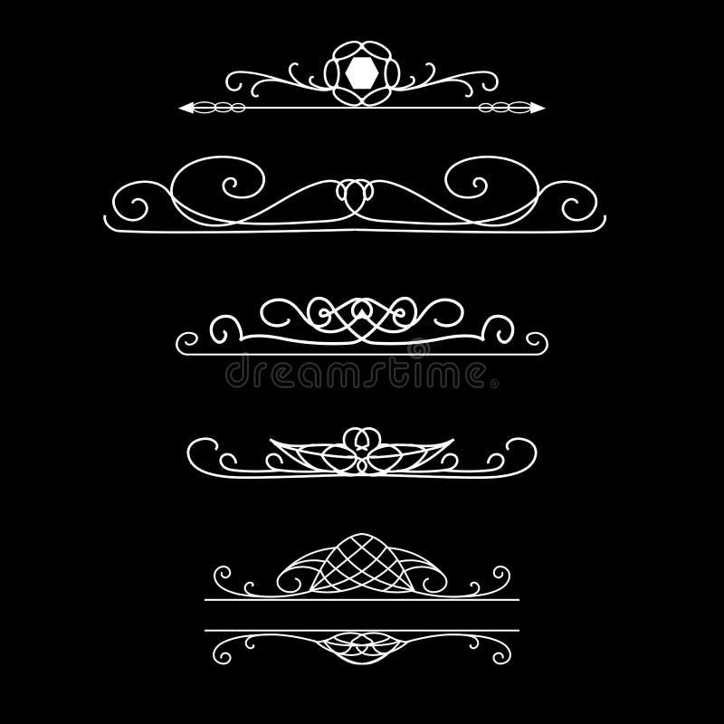 Rocznika wektoru granicy Set kaligraficzni dividers royalty ilustracja