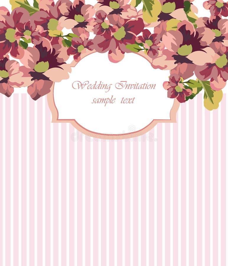 Rocznika wektoru karta z akwarela kwiatu ramą ilustracja wektor