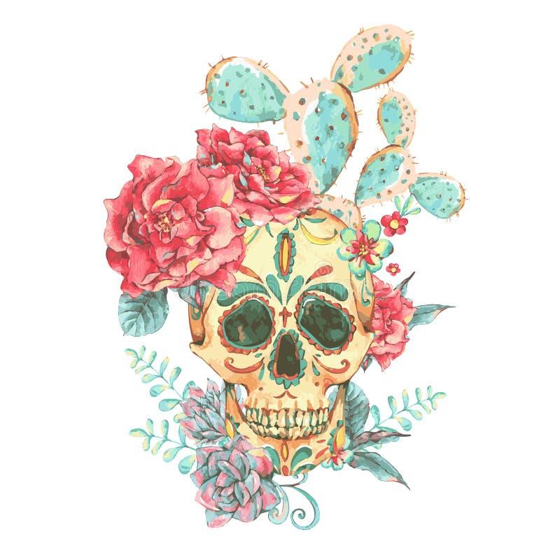 Rocznika wektoru karta z czaszką i różami ilustracji