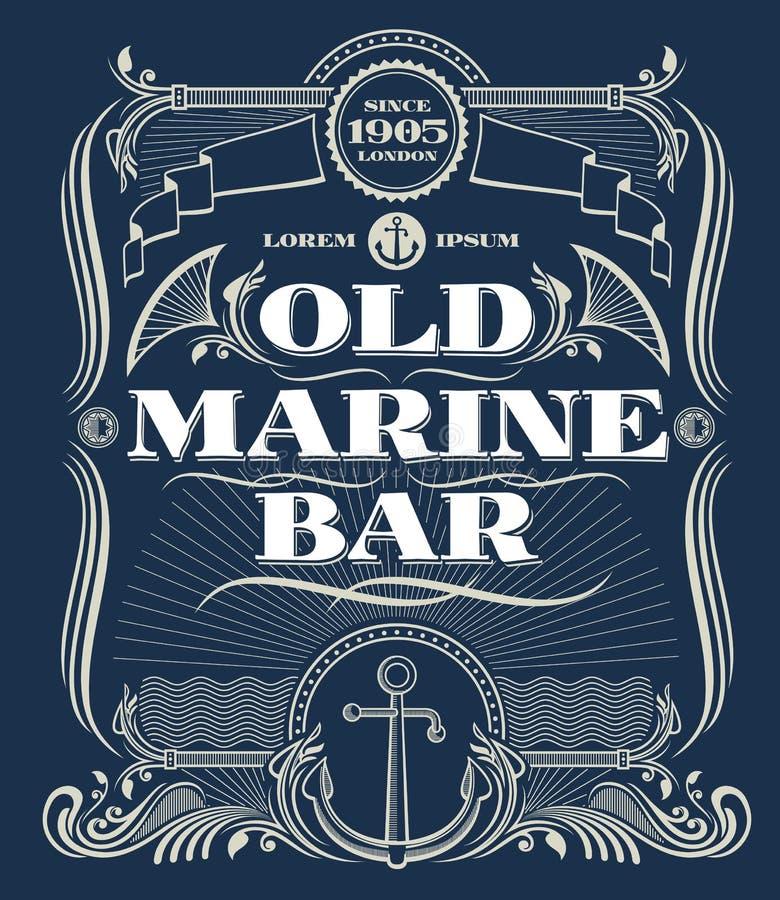 Rocznika wektoru rabatowa zachodnia rama, stara żołnierza piechoty morskiej baru etykietka ilustracja wektor