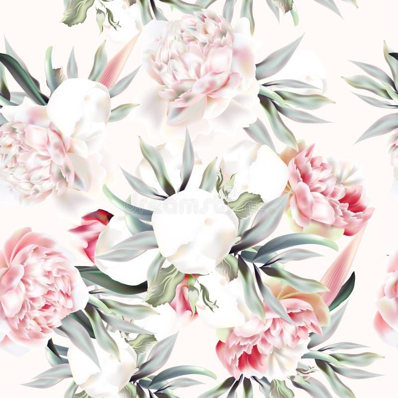 Rocznika wektoru wzór z brzoskwini peonią, liśćmi i tropikalnym planem, ilustracji