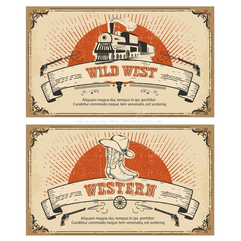 Rocznika westernu ramowe karty również zwrócić corel ilustracji wektora ilustracji
