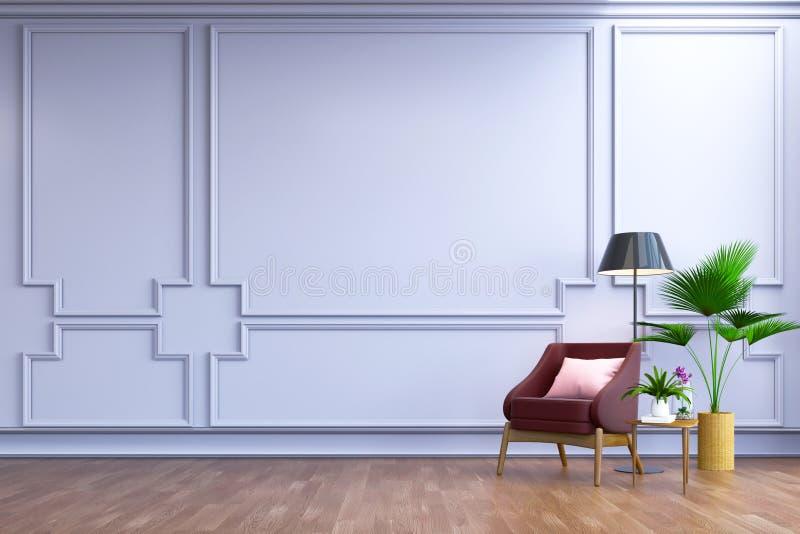 Rocznika wewnętrzny pokój, Współczesny meble, luksusowy wystrój, jagodowa rzemienna kanapa i czarna lampa na, drewnianej podłoga  ilustracja wektor