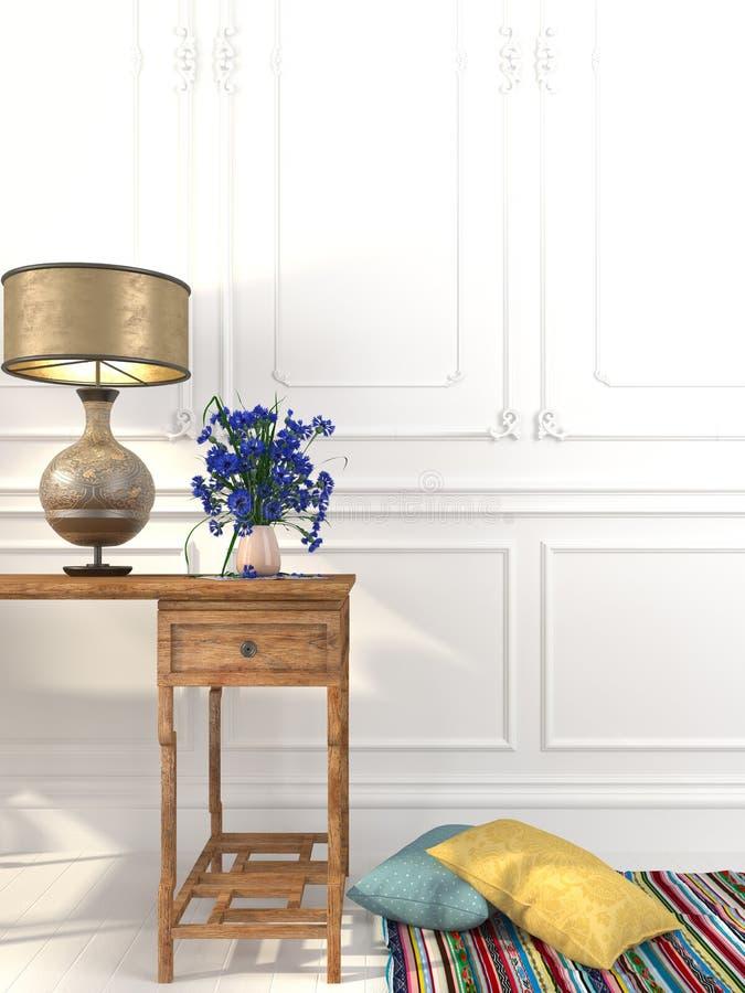 Rocznika wewnętrzny skład z stołem i biurko lampą zdjęcie stock