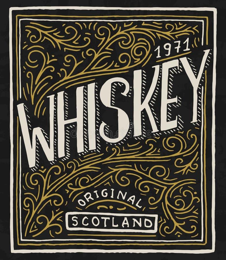 Rocznika whisky Amerykańska odznaka Alkoholiczna etykietka z kaligraficznymi elementami Ręka rysujący grawerujący nakreślenia lit royalty ilustracja