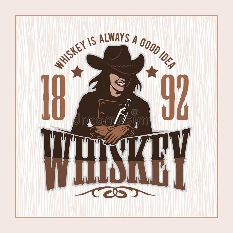 Rocznika whisky etykietka z dziewczyną - koszulki grafika ilustracji